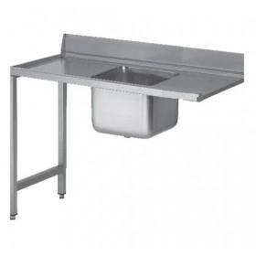 Tables inox de lave-vaisselle avec bac à gauche - 1600 mm