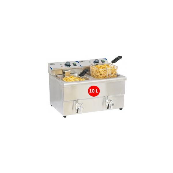 Friteuse électrique à poser 2x10 litres avec vidange