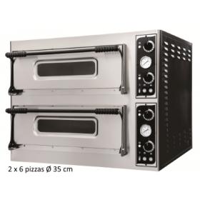 Four à pizza professionnel - 2 chambres 6 pizzas/35 cm - Electrique