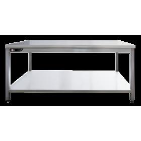 Table inox professionnelle centrale 700x700x850 mm avec étagère