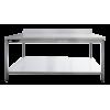 Table inox professionnelle adossée 1000x700x950 mm avec étagère