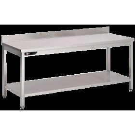 Table inox adossée 700x700x950 mm avec étagère