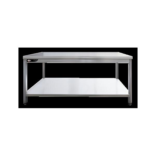 Table inox professionnelle centrale 1400x700x850 mm avec étagère