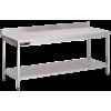 Table inox professionnelle adossée 1500x700x950 mm avec étagère