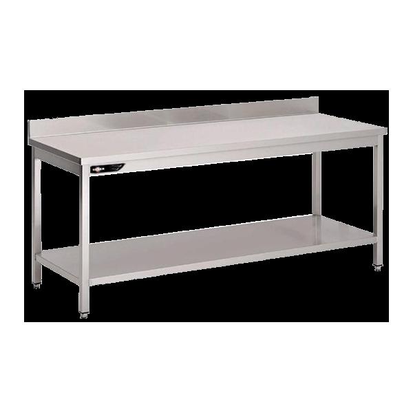 Table inox adossée 1600x700x950 mm avec étagère