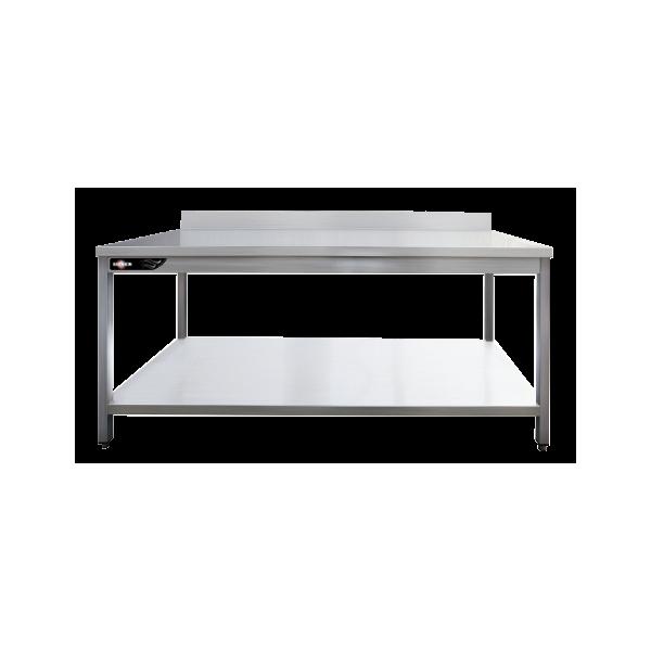 Table inox adossée 1600x700x950 mm