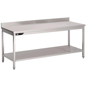 Table inox adossée 2000x700x850 mm avec étagère