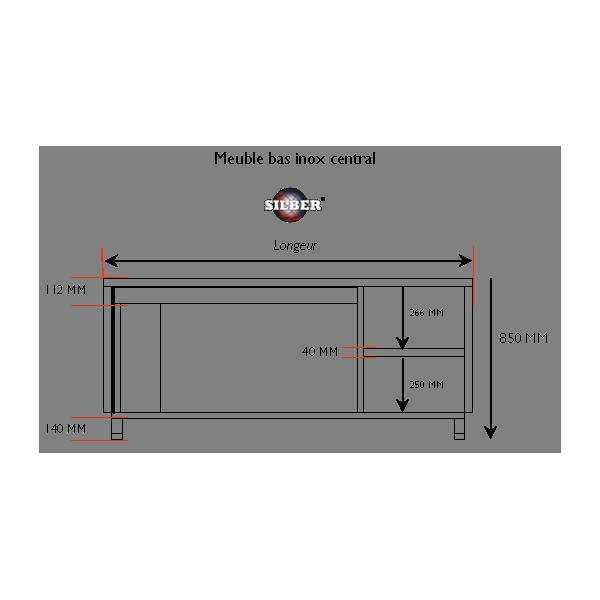 Meuble bas inox central 1800x700x850 mm SILBER