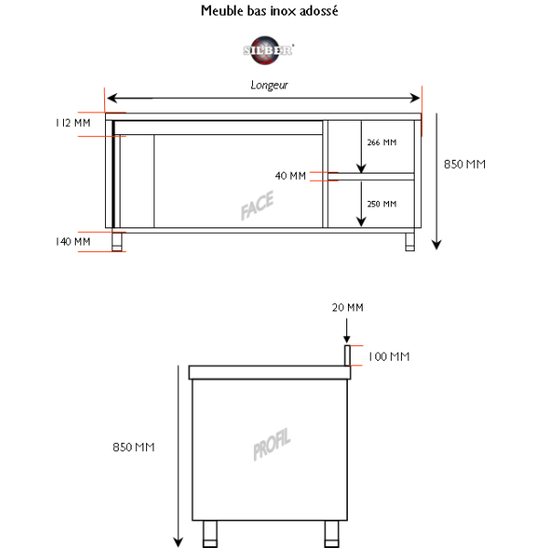 Meuble bas inox adossé 1800x700x950 mm SILBER