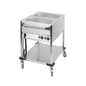 Chariot bain-marie professionnel 2 cuves GN1/1