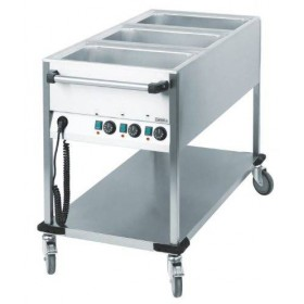 Chariot bain-marie professionnel 3 cuves GN1/1