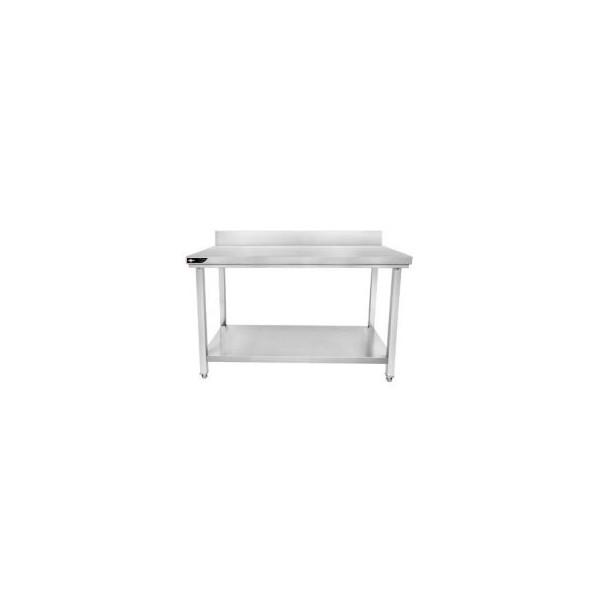 Table inox avec dosseret et étagère 1500x600x950 mm