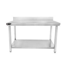 Table inox adossée 1600x600x950 mm avec étagère